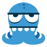 Cartoon Funny Blue Monster Character Isolated Royalty Free Stock Photo