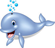 Cartoon funny blue whale  on white background Royalty Free Stock Photography