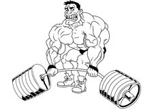 Cartoon funny bodybuilder. Isolated on a white.illustration Stock Images
