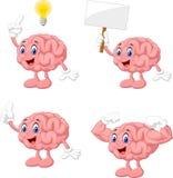 Cartoon funny brain collection set vector illustration