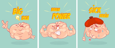 Cartoon funny brain collection set Royalty Free Stock Photography