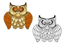 Cartoon funny brown owl bird Stock Image