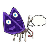 Cartoon funny butterfly with thought bubble Stock Images