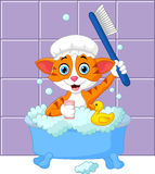 Cartoon funny cat bathing time Royalty Free Stock Image
