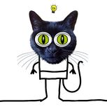 Cartoon Funny Cat Having an Idea stock illustration