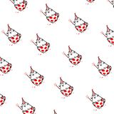 Cartoon funny cat, pattern, ornament. Vector flat illustration. The character is isolated on a white background. Ornament,. Pattern for fabric. Funny kitty for royalty free stock photos