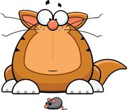 Cartoon Funny Cat With Toy Mouse. Cartoon illustration of a funny cat staring at a toy mouse royalty free illustration