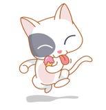 Cartoon funny cats enjoy ice cream. Cute cartoon funny cats enjoy ice cream Royalty Free Stock Photos