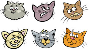 Cartoon funny cats heads set Stock Photography