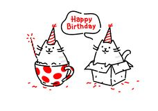 Cartoon funny cats. Kitty wishes happy birthday sitting in a box and in a cup. Vector. Illustrations isolated on white background stock illustration