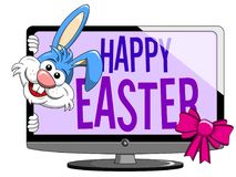 Cartoon funny character or mascot peeking from happy easter mode stock illustration