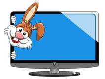 Cartoon funny character or mascot peeking from modern flat tv or. Television isolated on white Royalty Free Stock Photos
