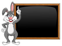 Cartoon funny character or mascot rabbit or bunny with glasses t. Eaching blank blackboard or chalkboard isolated on white Stock Image