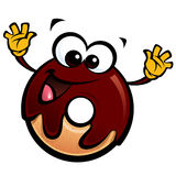Cartoon funny chocolate icing donut character making a gesture. Cartoon happy smiling donut character with chocolate glace making a gesture Royalty Free Stock Image