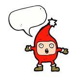 Cartoon funny christmas creature with speech bubble Stock Photos