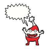 Cartoon funny christmas creature with speech bubble Stock Photo
