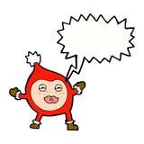 Cartoon funny christmas creature with speech bubble Stock Photo