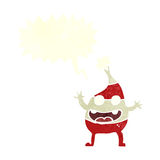 Cartoon funny christmas creature with speech bubble Stock Photography