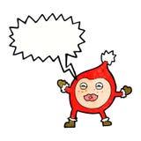Cartoon funny christmas creature with speech bubble Royalty Free Stock Photos