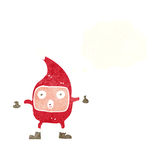 Cartoon funny christmas creature with thought bubble Royalty Free Stock Image