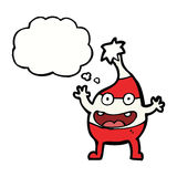 Cartoon funny christmas creature with thought bubble Royalty Free Stock Photography