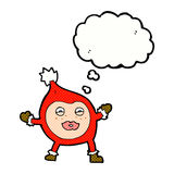 Cartoon funny christmas creature with thought bubble Stock Images
