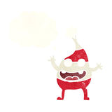 Cartoon funny christmas creature with thought bubble Stock Photos