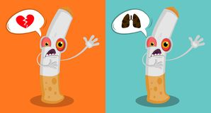 Cartoon funny cigarette with eyes and a mouth asking help. Dying character. Cartoon fight against nicotine addiction. Stop smoking vector illustration
