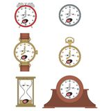 Cartoon funny clock face smiles 011 Stock Photos