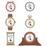 Cartoon funny clock face smiles 02 Stock Image