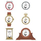 Cartoon funny clock face smiles 05 Royalty Free Stock Images