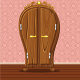 Cartoon funny closed Retro wardrobe. Living room wooden furniture Stock Image