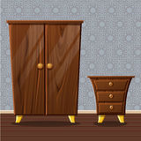 Cartoon funny closed wardrobe and bedside table. Cartoon funny closed wardrobe, Living room wooden furniture in Royalty Free Stock Image