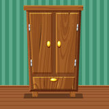 Cartoon funny closed wardrobe, Living room wooden furniture. In vector Stock Images