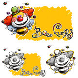 Cartoon Funny Clown Bee Joggling 4 Colorfull Balls Stock Photo