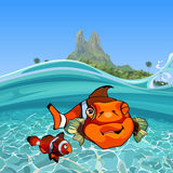 Cartoon funny a clown fishes under water in the sea near the island stock illustration