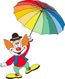 Cartoon funny clown holding an umbrella Royalty Free Stock Images