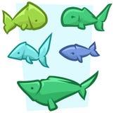 Cartoon funny colored fish vector icon set. Cartoon funny colored fish on blue background. Vector icon set Royalty Free Stock Image