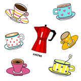 Cartoon funny colorful cups. Illustration hand drawn utensils cartoon funny colorful cups of various coffee and tea with italian coffee maker  on white Royalty Free Stock Photography