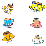 Cartoon funny colorful cups. Illustration hand drawn utensils cartoon funny colorful cups of various coffee  on white background vector eps 10 Stock Photos