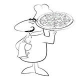 Funny chef cook pizza Royalty Free Stock Image