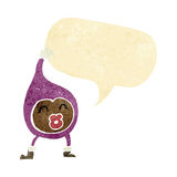 Cartoon funny creature with speech bubble Royalty Free Stock Images