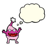 Cartoon funny creature with thought bubble Stock Images