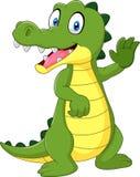 Cartoon funny crocodile waving hand isolated on white background Stock Photo
