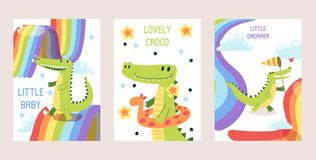 Cartoon funny crocodiles set of banners, cards vector illustration. Little baby dreamer, lovely croco in inflatable ring royalty free illustration