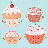 Cartoon funny cupcake (muffin) set Royalty Free Stock Images