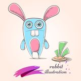 Cartoon funny, cute, crazy rabbit. Carrot illustration. Royalty Free Stock Images