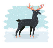 Cartoon funny cute deer with red nose vector illustration Stock Photos