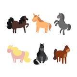Cartoon Funny and Cute Horses or Pony Set. Vector Stock Photo