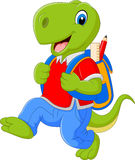 Cartoon funny dinosaur with backpack Stock Images